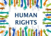 the words human rights with lots of different coloured hands
